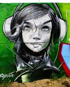 Random girl with headphones.