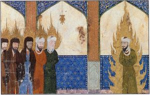 Prophet Muhammad [swt] leading Ibrahim & Musa [swt] into prayer.