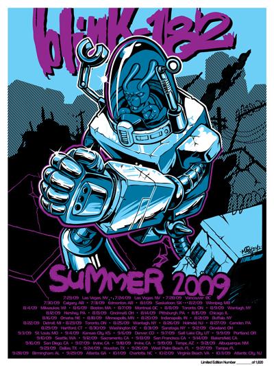 Blink 182 poster annoucing Summer Tour 09'.