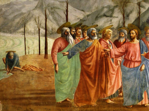 Jesus & His Apostoles having Halos [the man at the far end with the Halo is Judas]